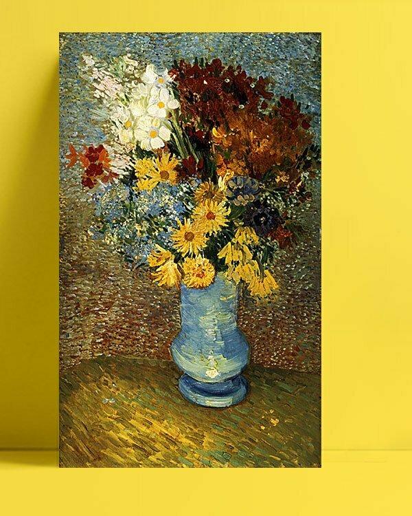 Vincent Van Gogh Fleurs dans un vase bleu afis