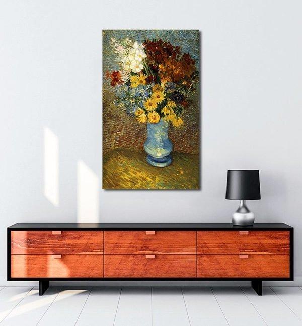 Vincent Van Gogh Fleurs dans un vase bleu tablo