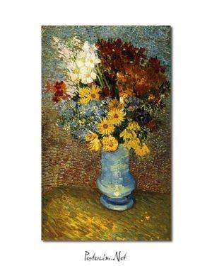 Vincent Van Gogh Fleurs dans un vase bleu poster
