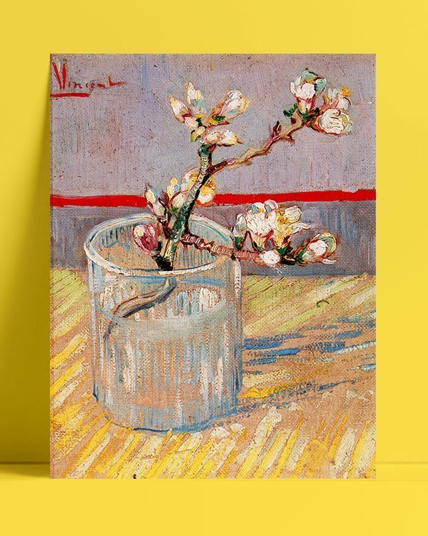 Vincent Van Gogh Flowered stem of almond tree afis