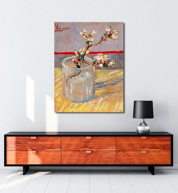 Vincent Van Gogh Flowered stem of almond tree tablo