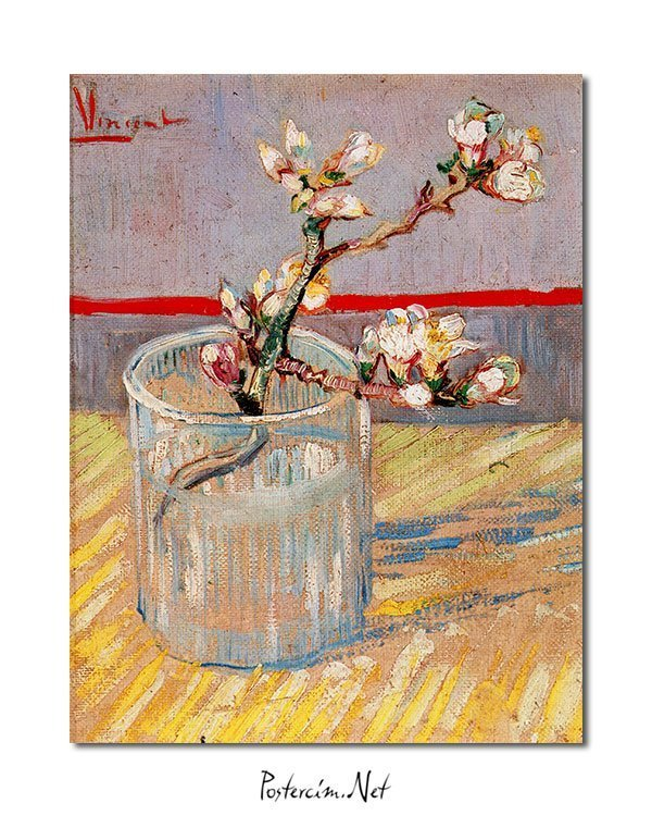 Vincent Van Gogh Flowered stem of almond tree poster