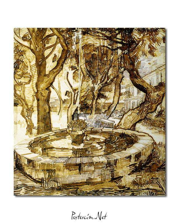 Vincent Van Gogh Fontaine dans le parc poster