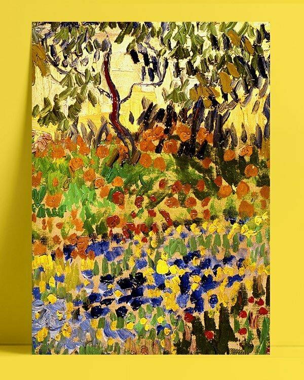 Vincent Van Gogh Garden in flowers afis