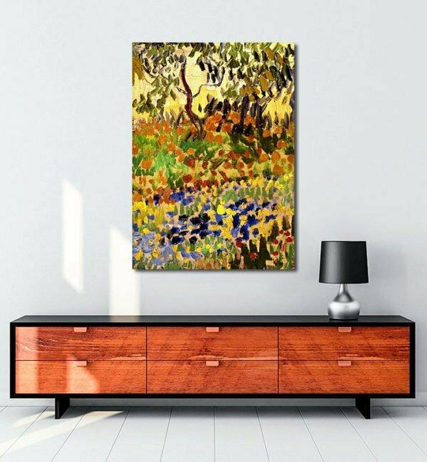 Vincent Van Gogh Garden in flowers tablo