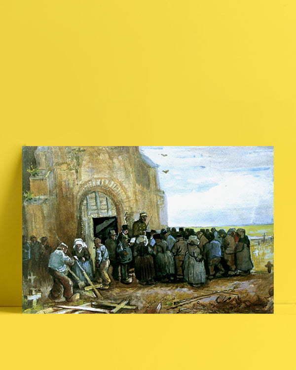 Vincent Van Gogh La Destruction de l'église aquarelle afis