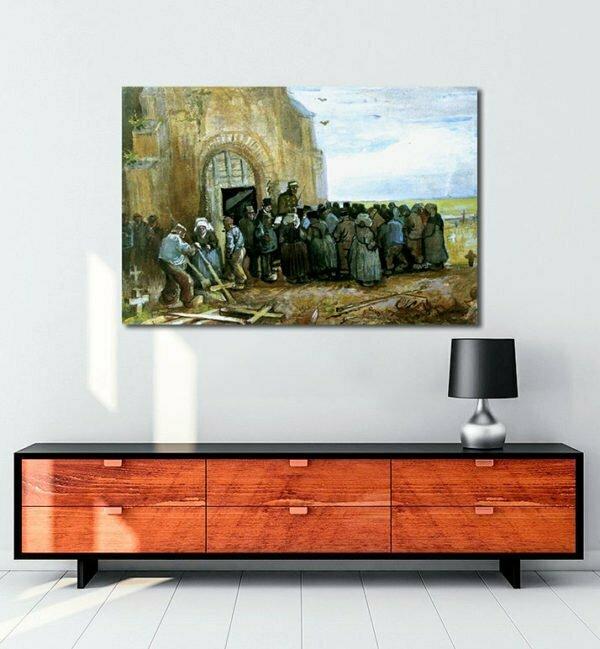 Vincent Van Gogh La Destruction de l'église aquarelle tablo