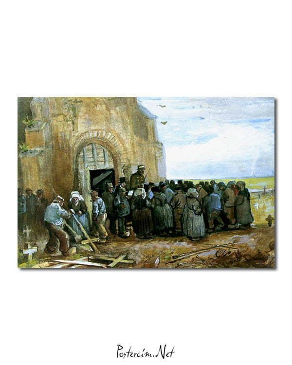 Vincent Van Gogh La Destruction de l'église aquarelle poster
