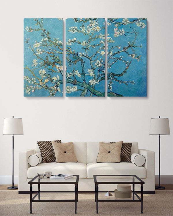 badem ağacı 3 parçalı tablo