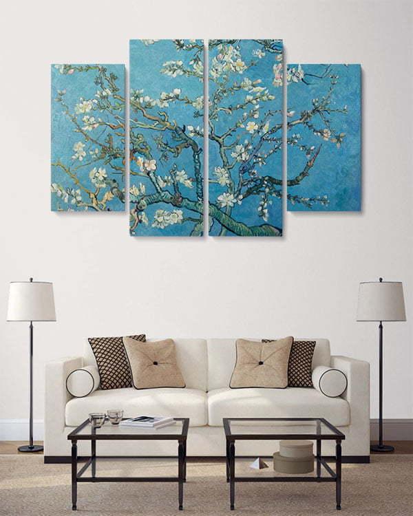 badem ağacı 4 parçalı tablo