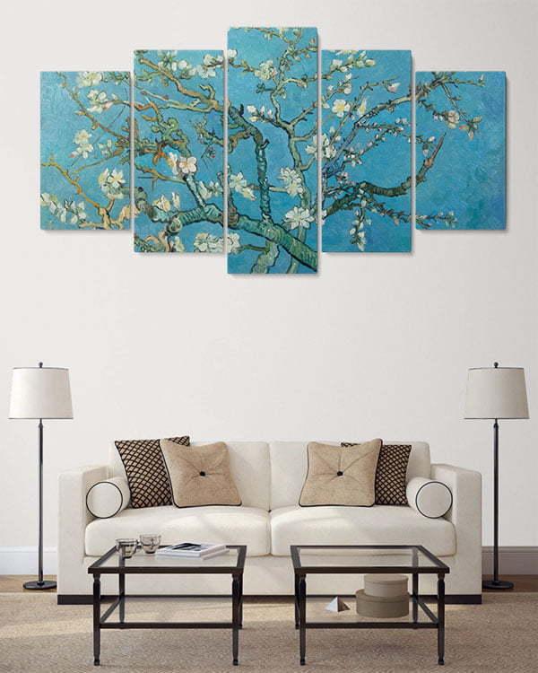 badem ağacı 5 parçalı tablo