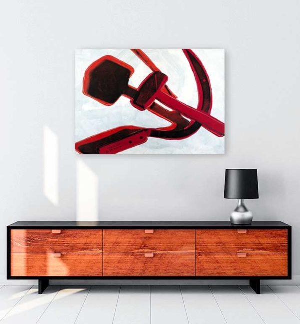 Hammer and sickle kanvas tablo