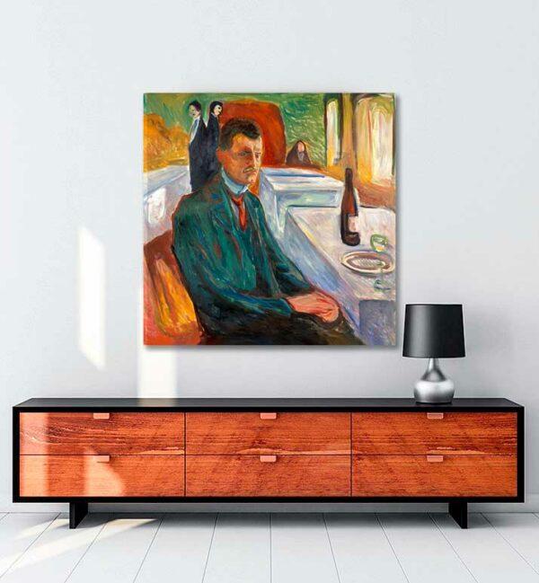 Self-Portrait with a Bottle of Wine kanvas tablo satın al