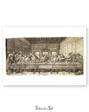 The Last Supper, with a Spaniel poster satın al