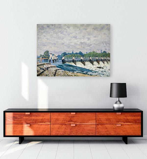 Molesey Weir kanvas tablo