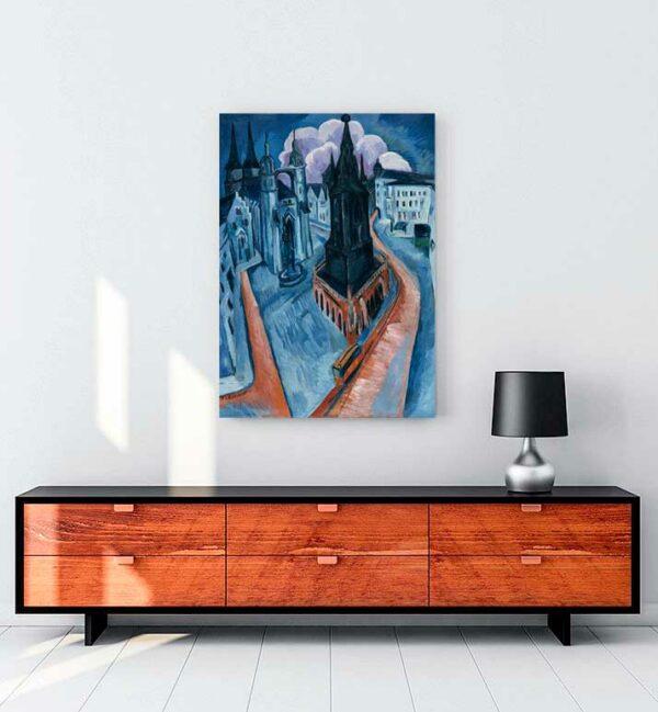 The Red Tower in Halle kanvas tablo satın al