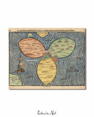 Bunting clover leaf map 1581 afişi