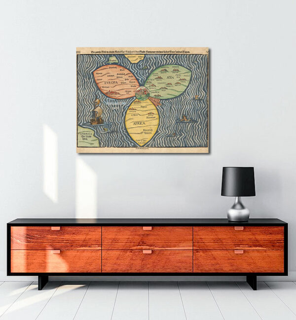 Bunting clover leaf map 1581 kanvas tablo