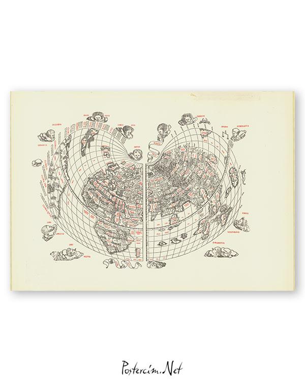 Cordiform world map / Bernardo Silvano 1511 afişi