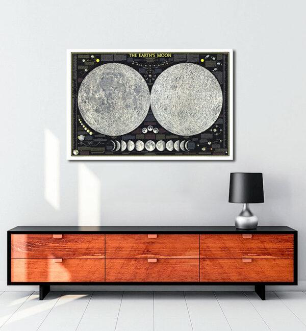 Moon Map kanvas tablo