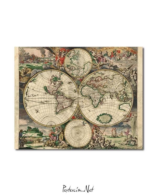Eski Dünya Haritası (1689) afişi