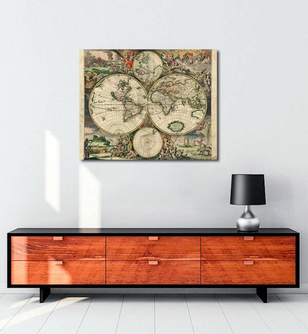 Eski Dünya Haritası (1689) kanvas tablo