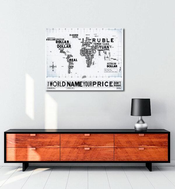 Financial Currency Map kanvas tablo