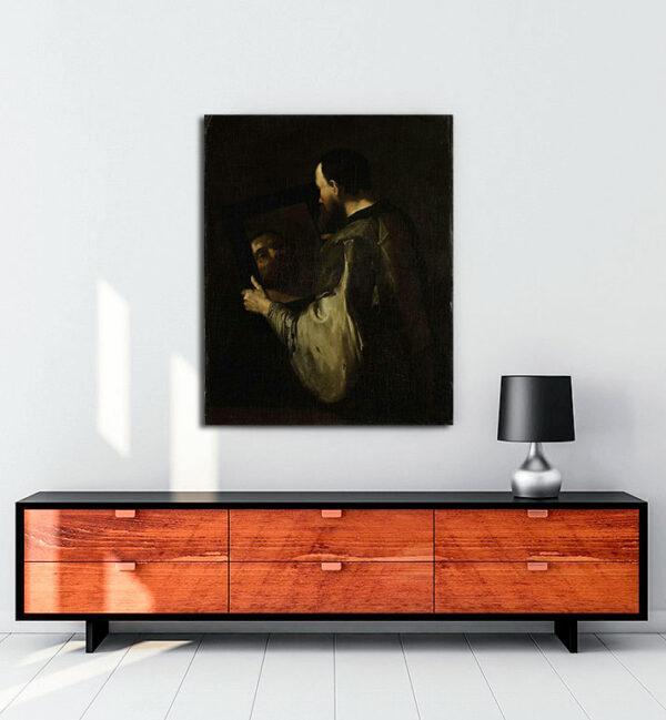 Philosopher with Mirror kanvas tablo