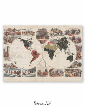 The Pictorial Missionary Map 1861 afisi