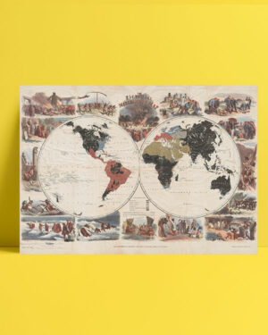 The Pictorial Missionary Map 1861 posteri