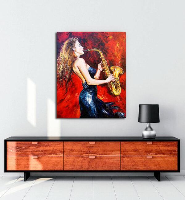 Saksafon-çalan-kadın-kanvas-tablo
