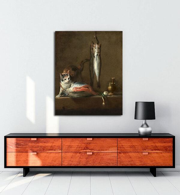 natürmort-kedi-balık-kanvas-tablo