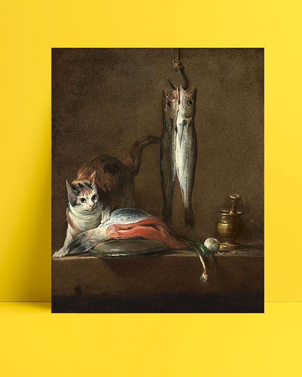 natürmort-kedi-balık-posteri