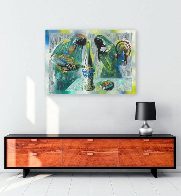 yanan-gaz-lambası-kanvas-tablo